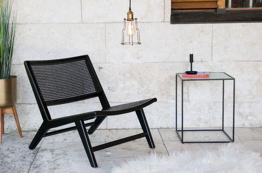 Sessel aus schwarzem, gepolstertem Rohrholz