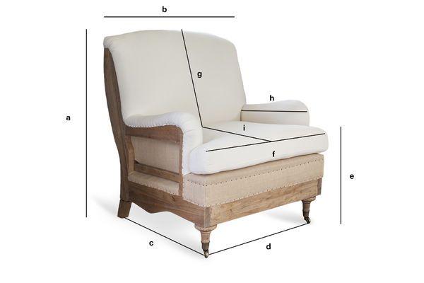 Produktdimensionen Sessel aus Stoff Gustave