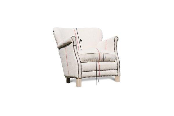 Produktdimensionen Sessel aus weißem Leinen Fontaine