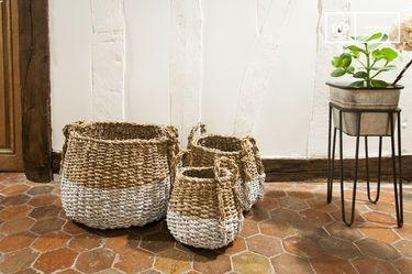 Set aus drei Kürbis Weidenkörben