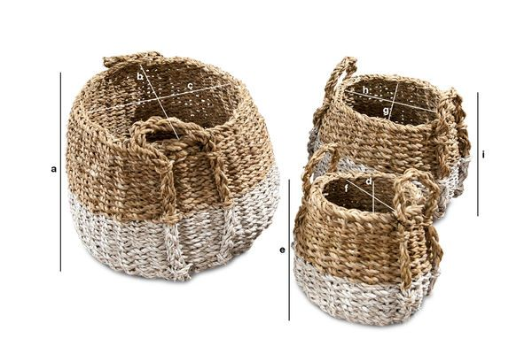 Produktdimensionen Set aus drei Kürbis Weidenkörben