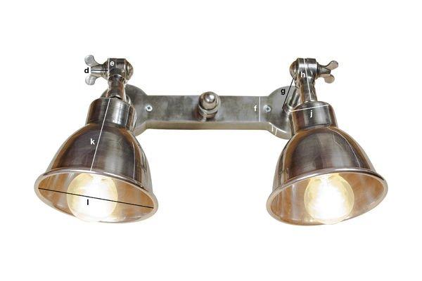 Produktdimensionen Silberfarbene Doppelwandleuchte