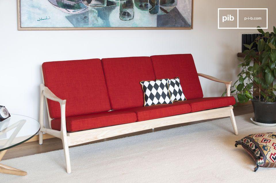 Die farbenfrohe Eleganz einer großen skandinavischen Bank in Holz und Stoff