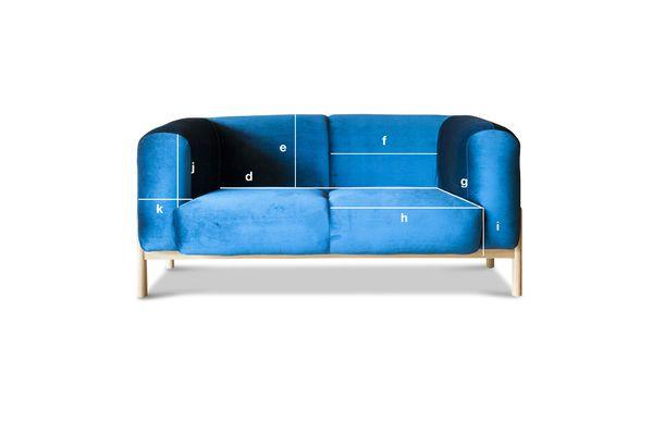 Produktdimensionen Sofa aus Samt Viela