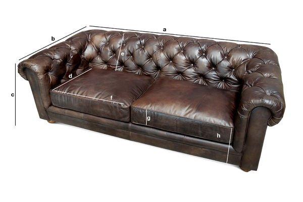 Produktdimensionen Sofa Dark Chesterfield