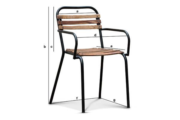 Produktdimensionen Stuhl Mistral mit Armlehnen