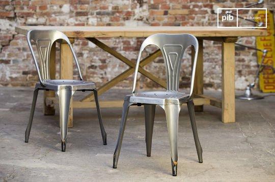 Stuhl Multipl's aus gebürstetem Edelstahl