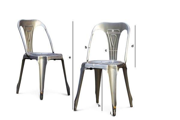 Produktdimensionen Stuhl Multipl's aus gebürstetem Edelstahl