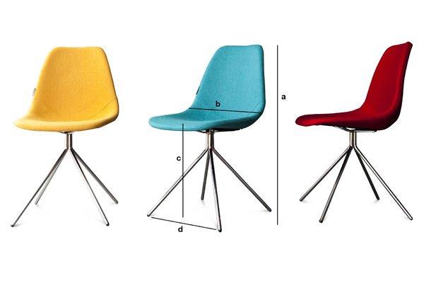 Produktdimensionen Stuhl Piramis Blau