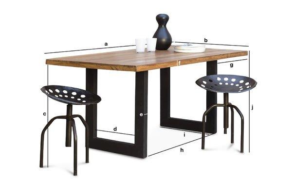 Produktdimensionen Tisch Peterstivy