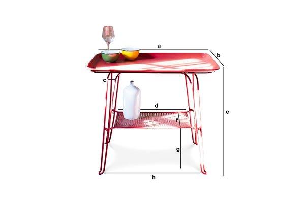 Produktdimensionen Tisch Scarlet