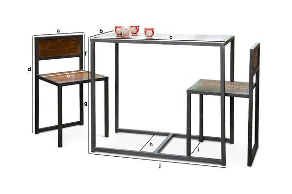 Produktdimensionen Tisch und Stühle Set Finn