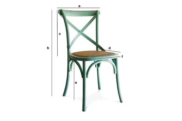 Produktdimensionen Türkisfarbener Stuhl Pampelune