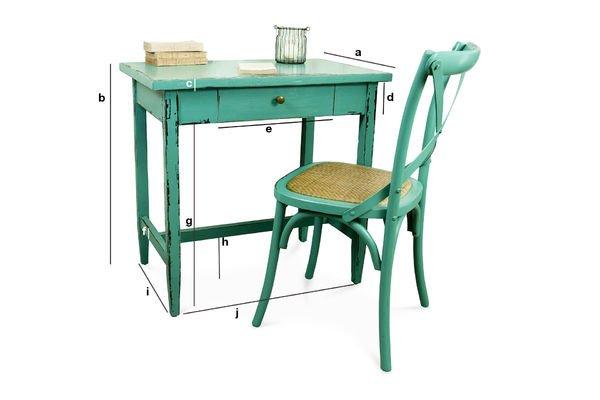 Produktdimensionen Türkisfarbener Tisch Lila