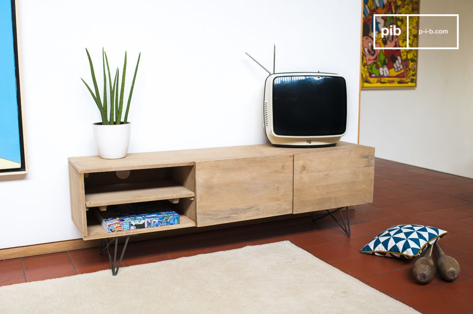 tv m bel aus holz z rich helles holz und retrostil pib. Black Bedroom Furniture Sets. Home Design Ideas