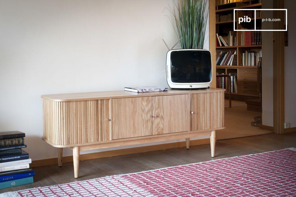 Die Ritz Vorhang TV-Konsole kombiniert einen leichten Holzstil mit einem originellen und