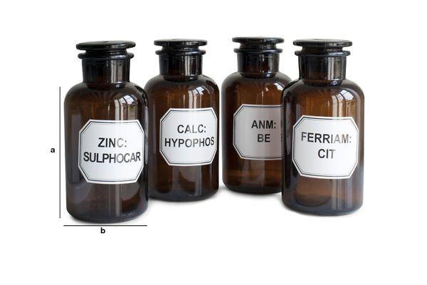 Produktdimensionen Vier Apothekerflaschen