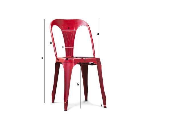 Produktdimensionen Vintage-Stuhl Multipl's Rot