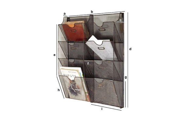 Produktdimensionen Wand-Prospekthalter aus Metallgeflecht