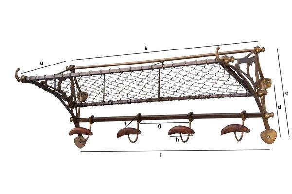 Produktdimensionen Wandgarderobe im Eisenbahn-Stil