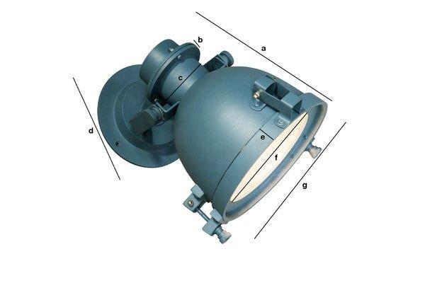 Produktdimensionen Wandlampe Spitzmüller in einem Petrolblau