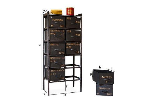 Produktdimensionen Werkstattkommode mit 10 Schubladen