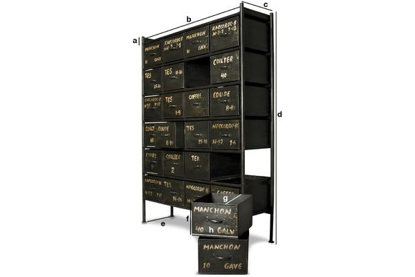 Produktdimensionen Werkstattmöbel mit 24 Schubladen