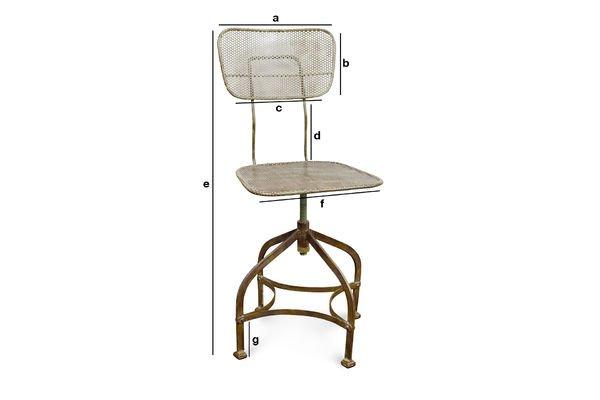 Produktdimensionen Werkstattstuhl aus Lochblech