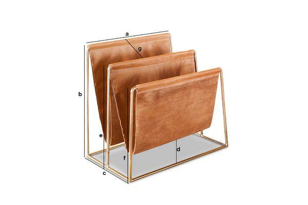 Produktdimensionen Zeitschriftenständer aus Leder und Messing Jorgen