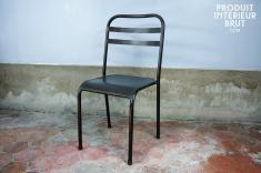 Hanjel : Stapelbarer dunkler Metallstuhl